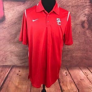 Nike Dri Fit Red Polo Shirt L SC Cardinals